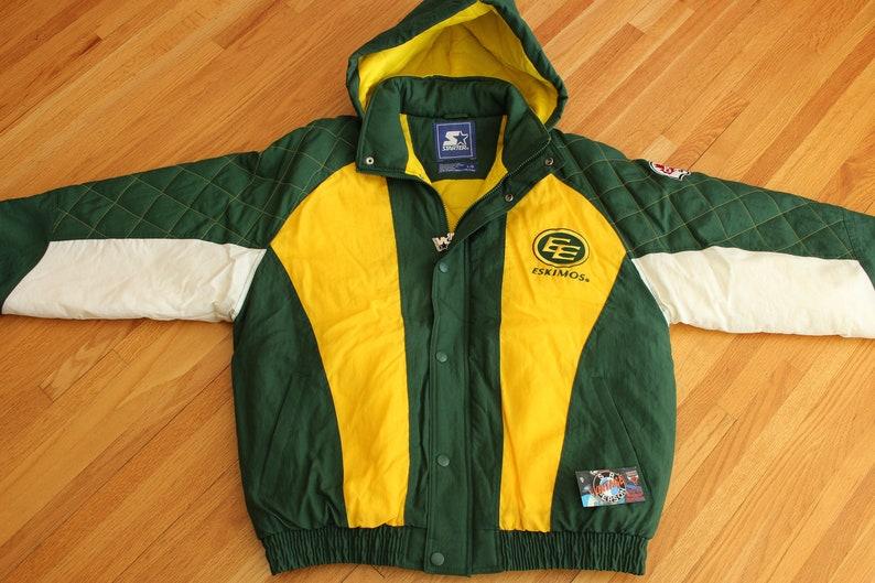 d49db596207 Vintage 90s Edmonton Eskimos Starter Parka Full Zipup Jacket CFL Gizmo  Williams