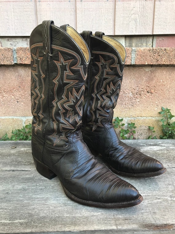 Vintage Embroidered Cowboy Boots   Dark Brown Leat