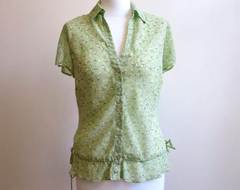 Pale Green Blouse Fruit Print Blouse Pear Print Blouse Silk Blouse Short Sleeves Blouse Womens Shirt Buttons up Top Large Size