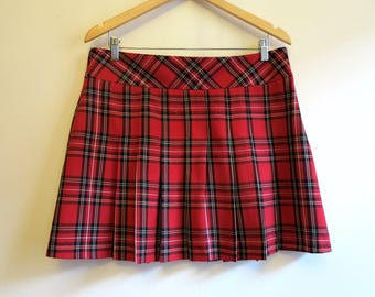 Hot Red Tartan Skirt Mini Plaid Accordion Pleated Red Black Checkered Low Waist Skirt Large Size