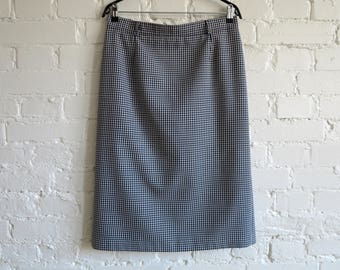 4fcaf69166 Black and White Gingham Skirt Gingham Plaid Wool Blend Pencil Skirt  Checkered Pencil Skirt Midi Pencil Skirt Office Skirt Large Size