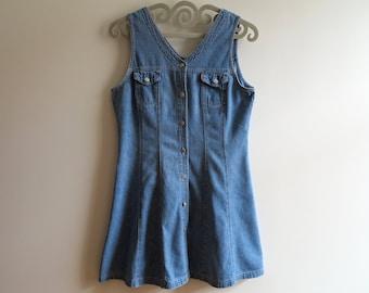 Vintage Denim Dress Denim Sarafan Dress Denim Mini Dress Mini Denim Dress Button up Denim Dress Sleeveless Denim Dress Large Size