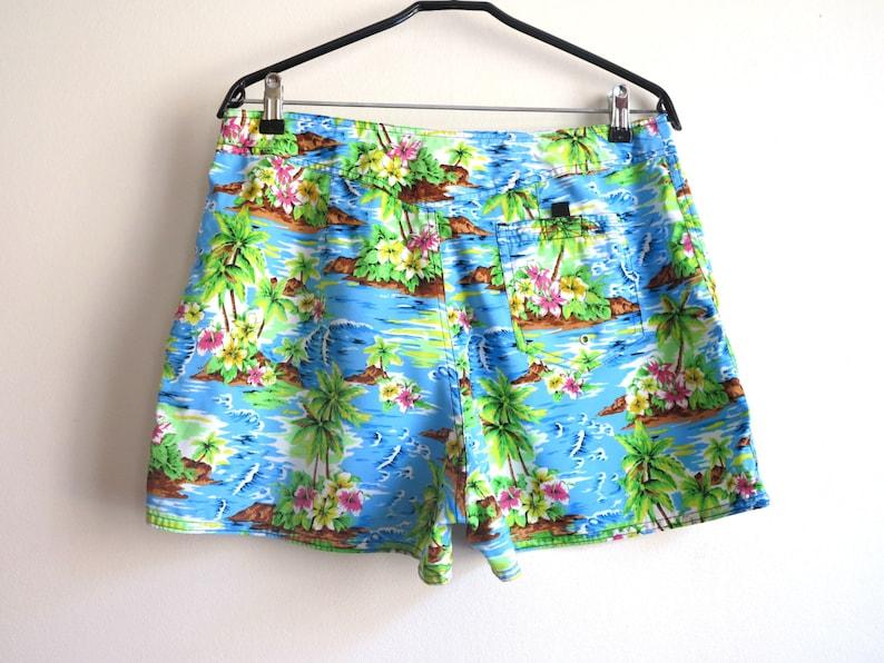 Vintage Hawaiian Swim Trunks Men/'s Hawaiian Board Shorts Surfer Shorts Palm Tree Beach Large Size