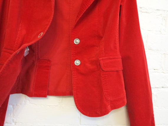 Set of Two Piece Suit Hot Red Womens Jacket Micro… - image 6