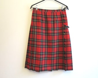 Hot Red Tartan Skirt Midi Plaid Wraparound Accordion Pleated Red Green White Checkered Wool Skirt Medium Size