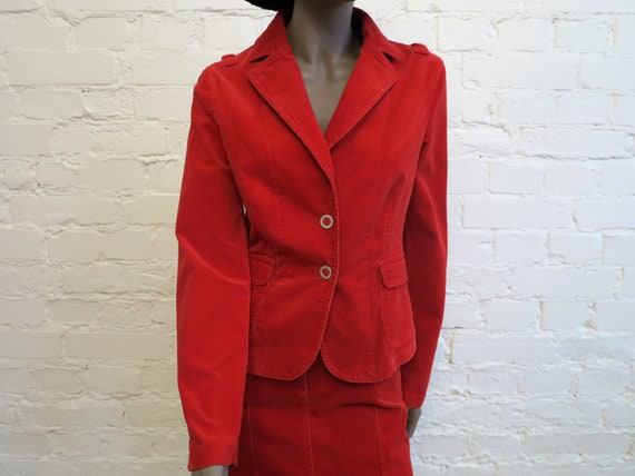 Set of Two Piece Suit Hot Red Womens Jacket Micro… - image 3