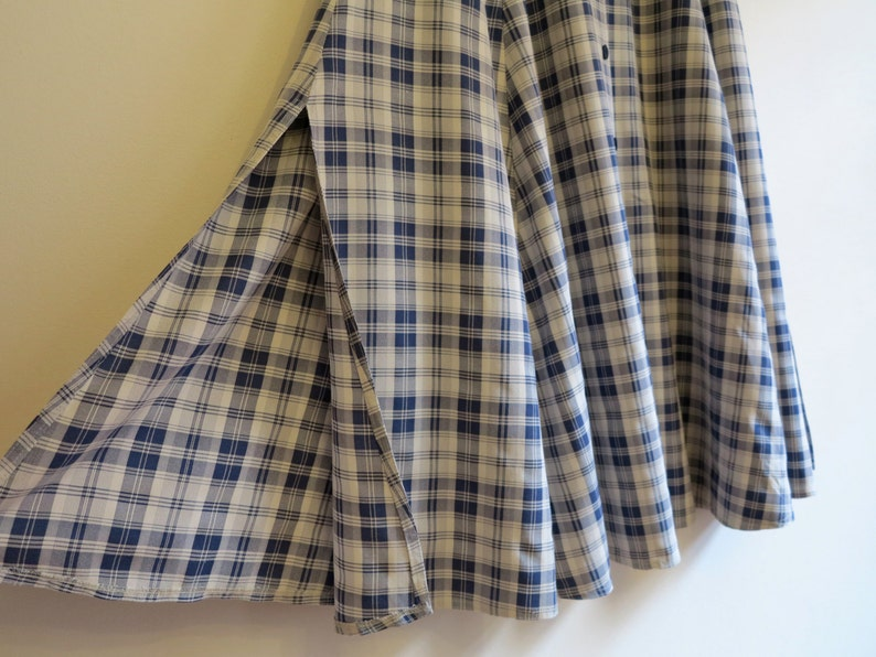5c8b54716 Blue White Plaid Skirts Full Maxi Skirts with Side and Back | Etsy