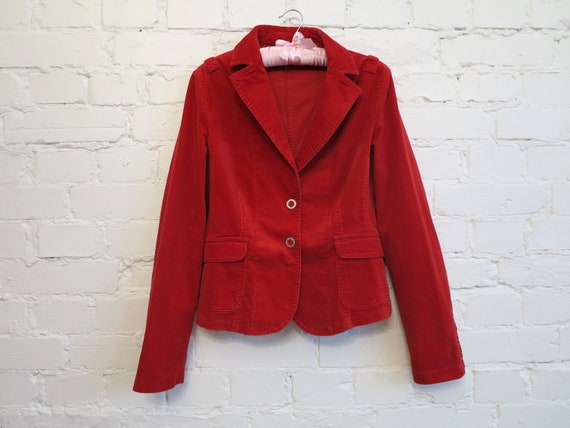 Set of Two Piece Suit Hot Red Womens Jacket Micro… - image 5