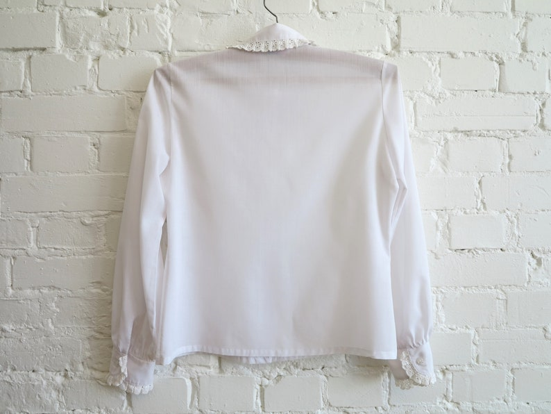 Ivory Off White Blouse Lace Trim Collar Blouse Long Sleeves Blouse  National Costume Folk Style Blouse Medium Size