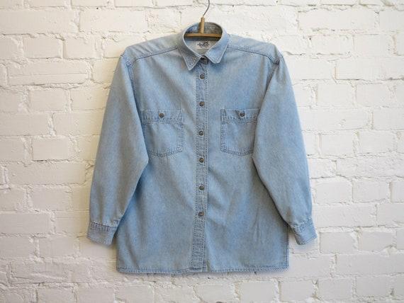 Vintage 80s Light Blue Denim Shirt Womens Denim Bl