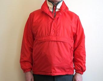 Red White Mens Windbreaker Reversible Jacket Plush Nylon Jacket Sport Outerwear Golf Parka Large Size