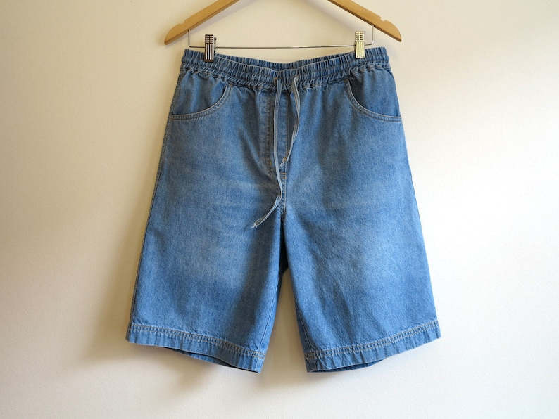 3923723265 Blue Denim Shorts Vintage Women's Shorts Elastic Waist   Etsy