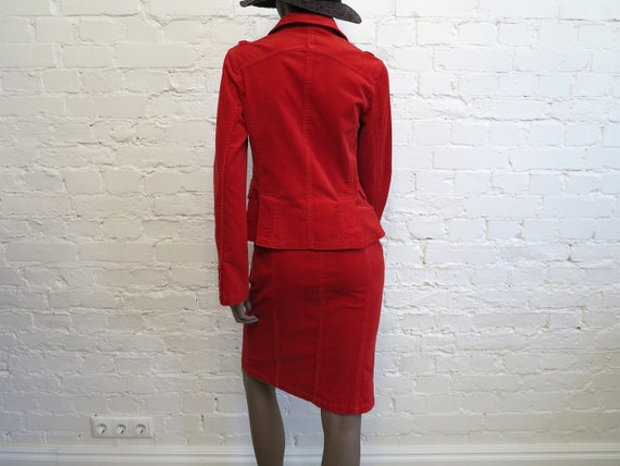 Set of Two Piece Suit Hot Red Womens Jacket Micro… - image 4