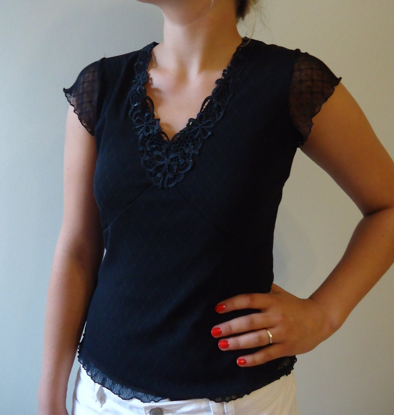 Black Lace Top Short Sleeves Blouse Black Jersey Top V Neck Blouse Small Size