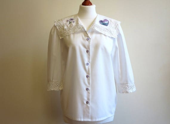 Ivory Off White Lace Collar Blouse Short Sleeves B