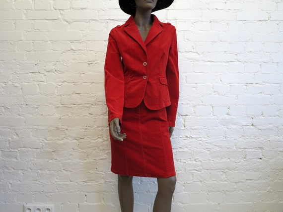 Set of Two Piece Suit Hot Red Womens Jacket Micro… - image 2