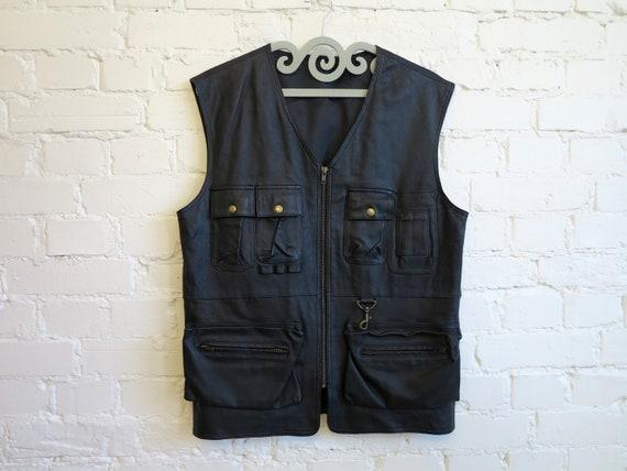Black Leather Vest with Pockets Mens Leather Vest