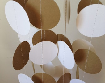 Brown Craft Paper, White 12 ft Circle Paper Garland- Party Decorations, Birthday, Wedding, Bridal Shower, Baby Shower