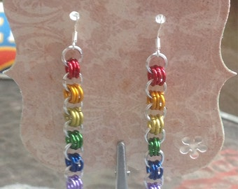 Silver and rainbow chainmaille earrings
