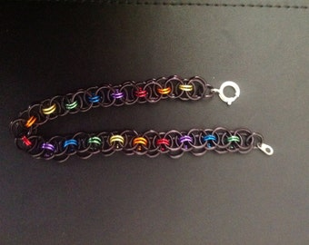 Black rainbow Chainmaille bracelet