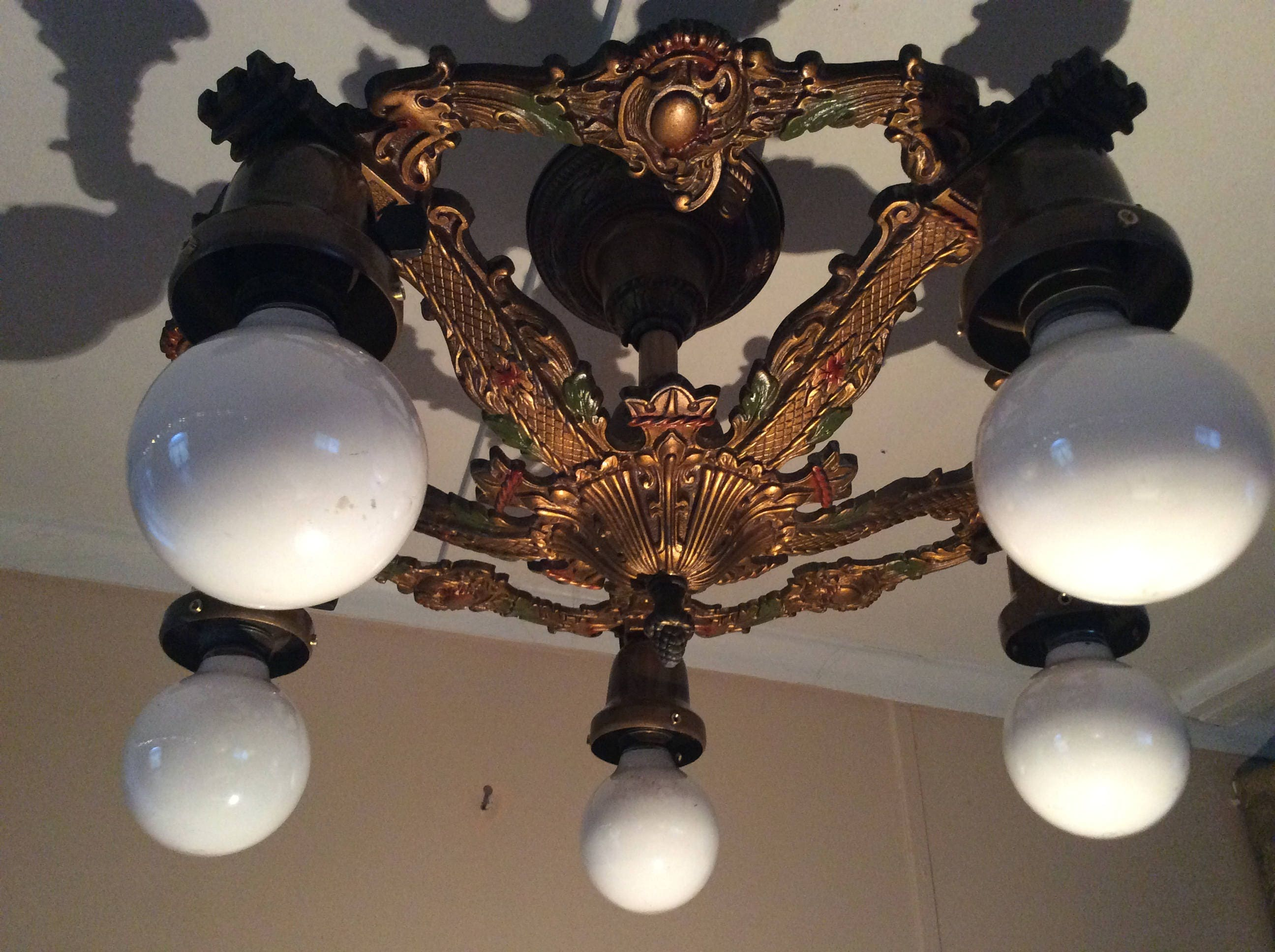 Antique Art Deco Ceiling Light Fixture Chandelier Polychrome ...