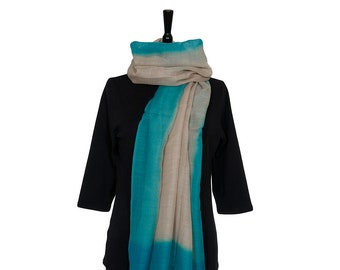 MERINO WOOL SCARF - Fine Pale Beige Scarf with Turquoise border