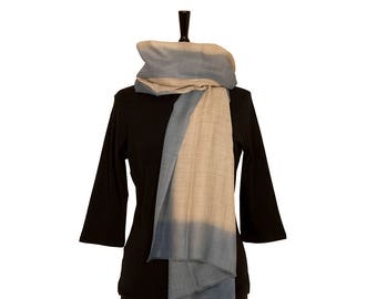MERINO WOOL SCARF - Fine Beige Scarf with Pastel Blue border