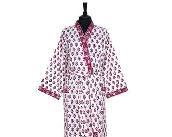 COTTON DRESSING GOWN - Block printed - Lilac and black small flower design on white background with red border