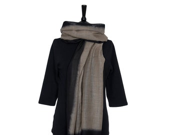 MERINO WOOL SCARF - Fine Beige Scarf with Black border