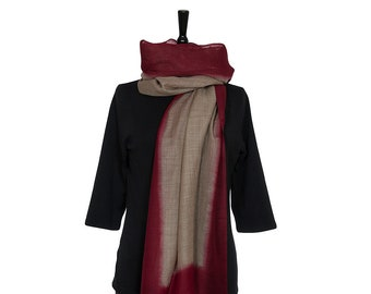 MERINO WOOL SCARF - Fine Beige Scarf with Dark Red border