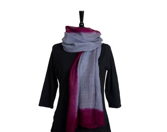 MERINO WOOL SCARF - Fine Bluey Scarf with Dark Magenta Border