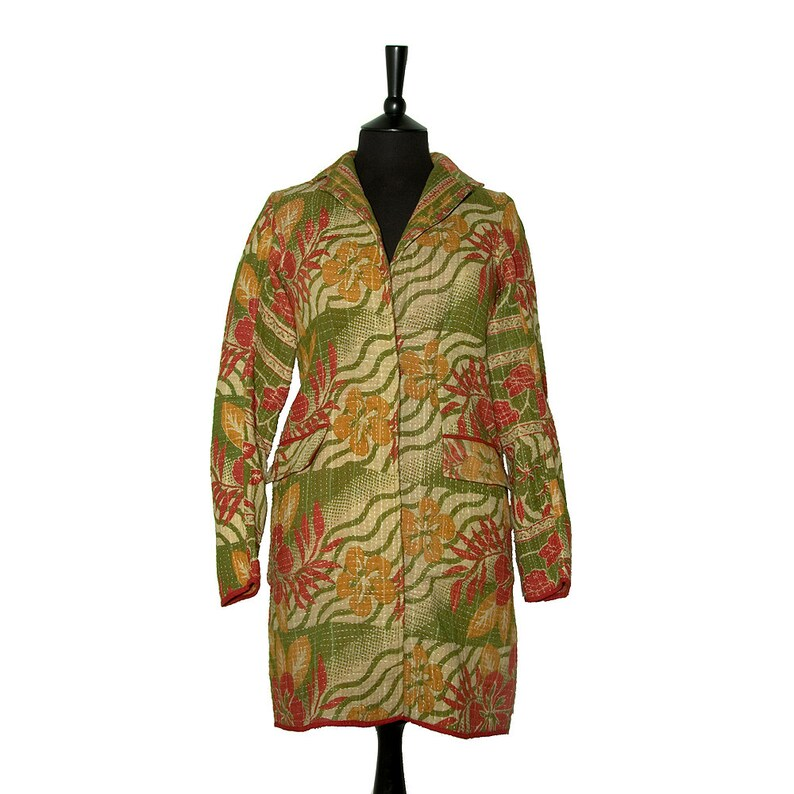 Olive green KANTHA JACKET beige with red and mustard yellow flowers. Small Classic style Size 810
