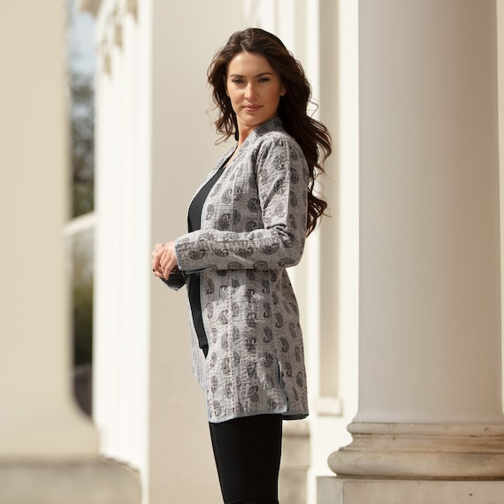 PAISLEY LONG JACKET - All sizes – Grey with Black