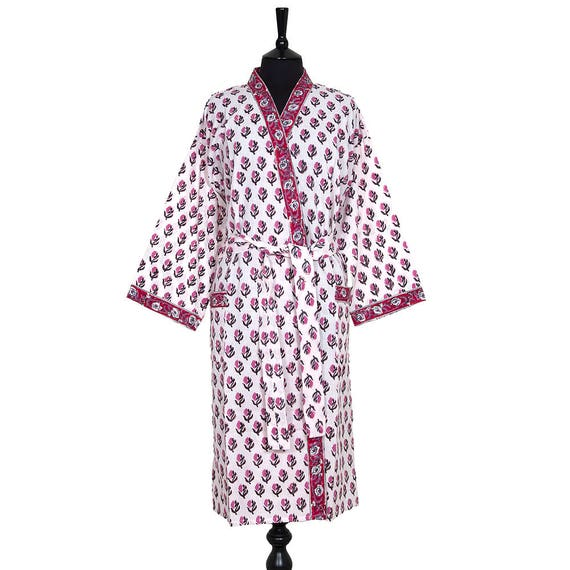 Cotton Dressing Gown Block Printed Lilac And Black Small Etsy