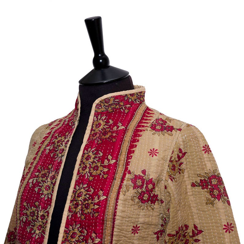 X Small Short style Size 8 KANTHA JACKET Reverse mixed panels. Beige and Red