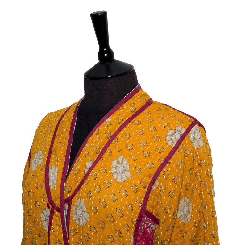 Light Green Reverse Saffron and Raspberry One size KANTHA GOWN Creams and Grey