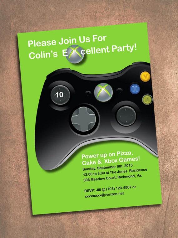 XBox Birthday Party Invite Digital File 5 X 7 Inches