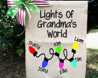 Grandkids Flag, Christmas Flag, Christmas Lights Garden Flag, Grandma's Flag, Nana's Flag, Christmas Lights With Names Sign