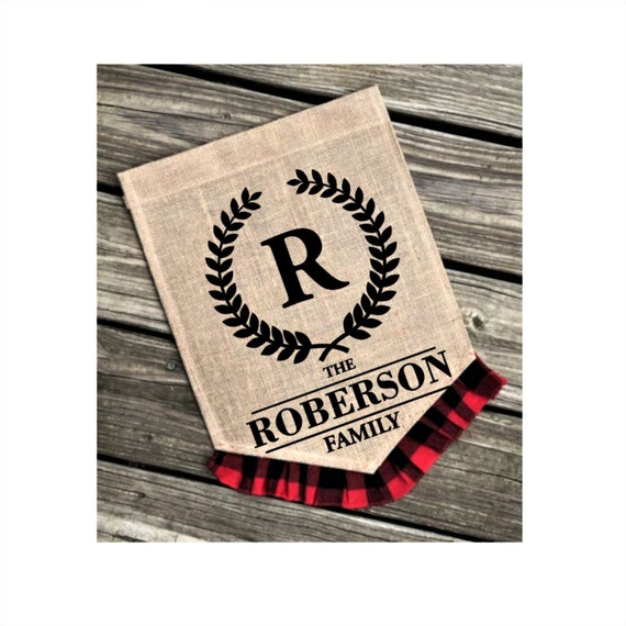 Initial Family Name Flag Plaid Burlap Yard Flag Split Initial