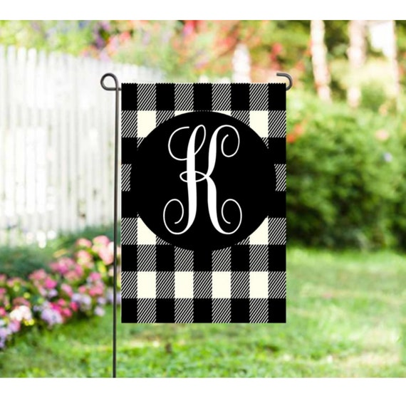 Buffalo Plaid Initial Garden Flag Black Plaid Yard Flag Etsy