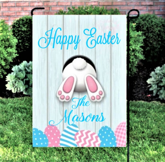 Easter Bunny Garden Flag Personalized Easter Yard Decor Spring