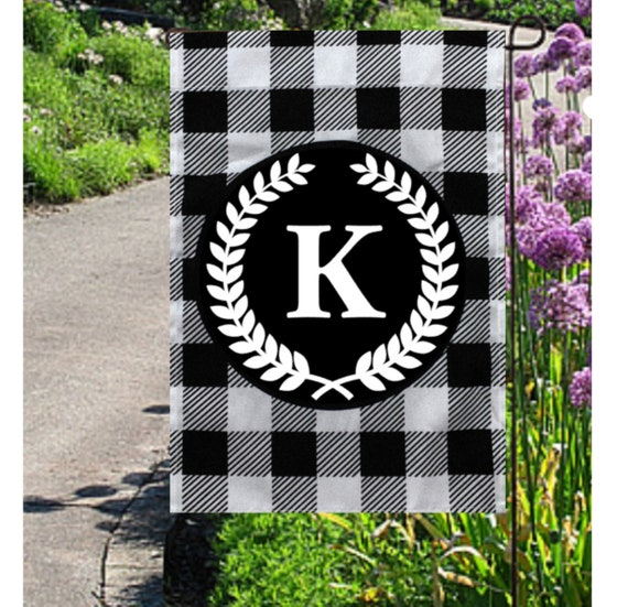 Buffalo Plaid Initial Garden Flag Spring Garden Flag Black Plaid