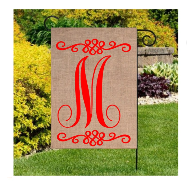 Monogram Initial Flag Burlap Initial Garden Flags Home And Etsy