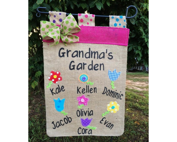 Grandmas Garden Flag Mothers Day Gifts Spring Flags For Summer Decorations With Grandkids Names Birthday Gift