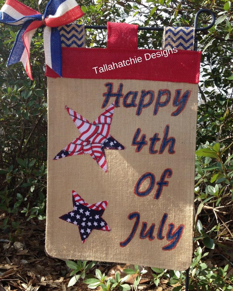 4th Of July Garden Flag Patriotic Burlap Garden Flag