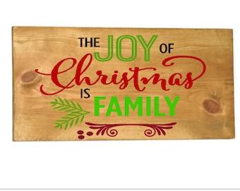 Joy Of Christmas Wood Sign ,Rustic Christmas Sign, Family Christmas Plaque, Christmas Mantle Decor, Farmhouse Christmas Sign