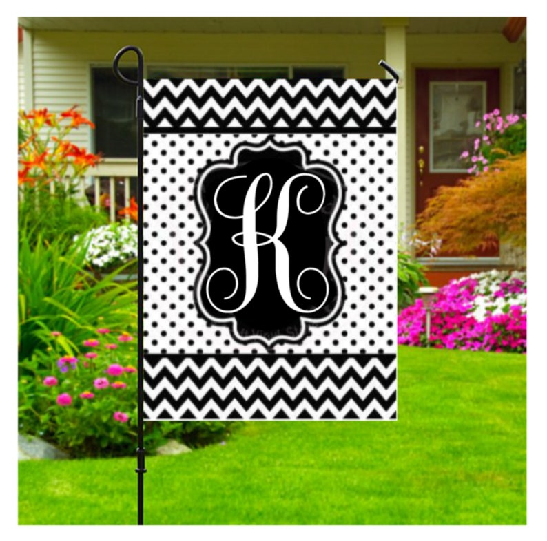 Initial Garden Flags Personalized Yard Flags Monogram Initial Flag Personalized Outdoor Black And White Garden Flag