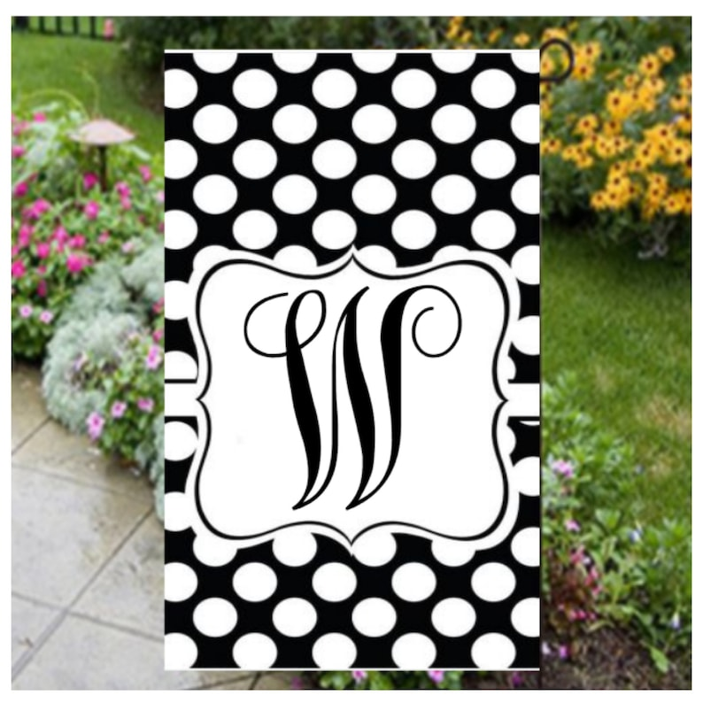 Initial Garden Flag Personalized Summer Yard Flags Black Etsy