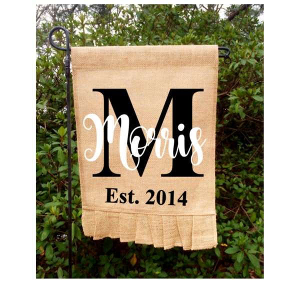 Wedding Flags Initial Garden Flag Personalized Burlap Flag Est