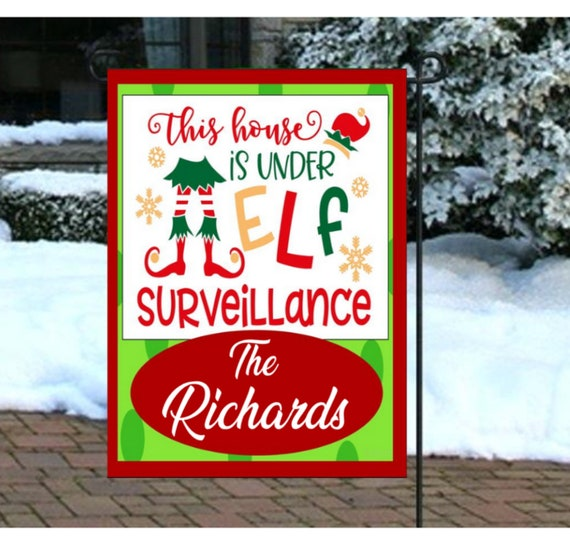 Custom Christmas Gifts.Personalized Elf Surveillance Garden Flags Christmas Flags